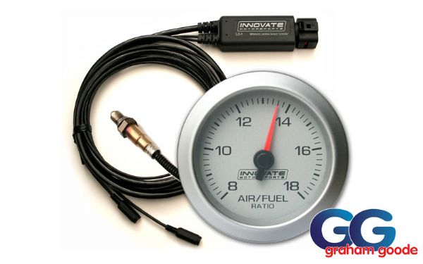 Innovate G2 AFR Air Fuel Ratio Gauge Kit Including LC-1 LC-2 Silver/White INN3801